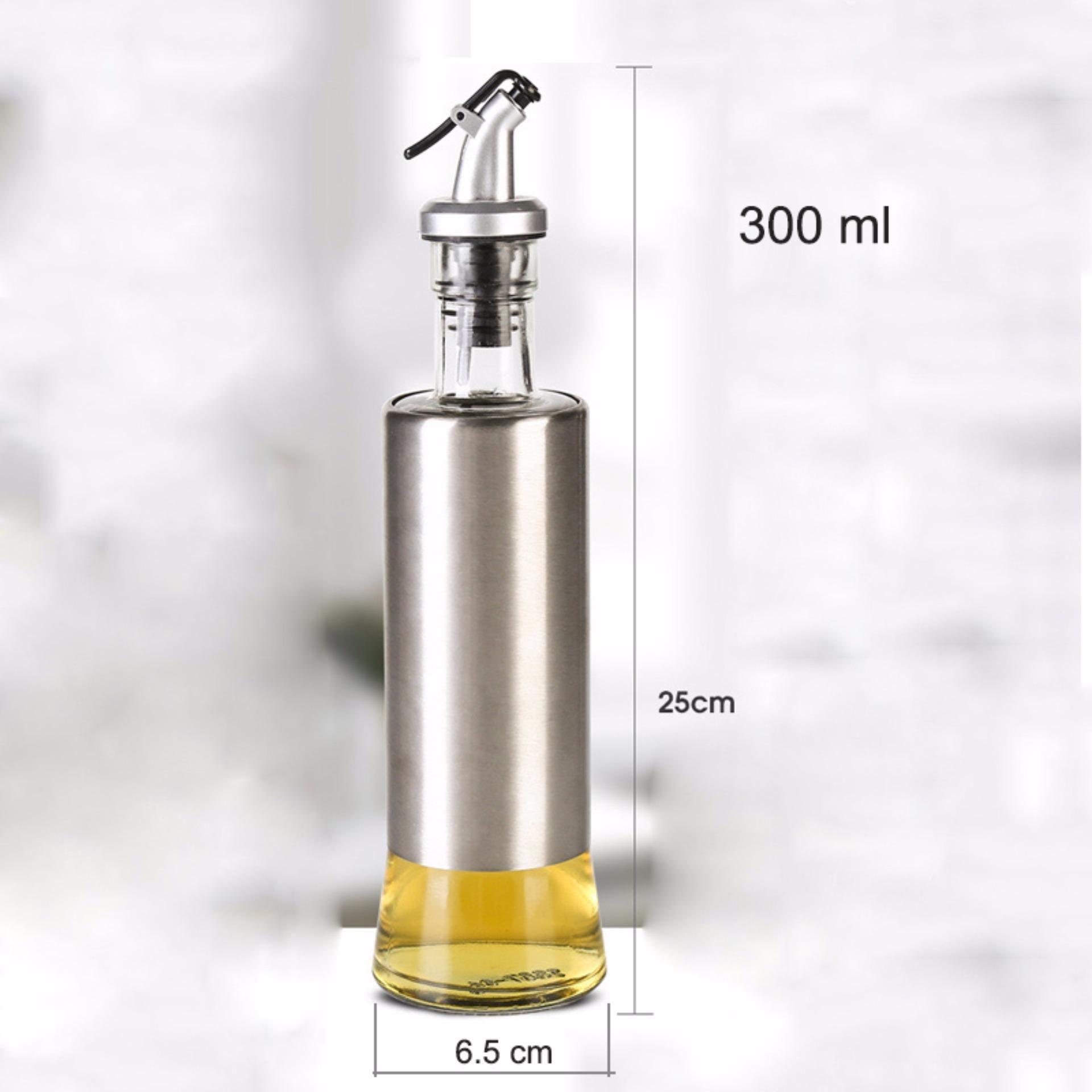 Galheteiro Porta Azeite Vinagre Oleo Dosador Em Inox Vidro