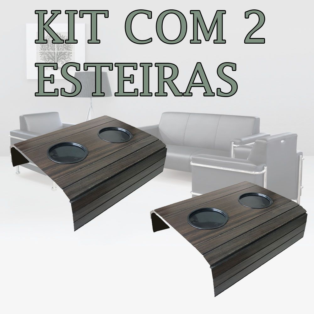 Kit 2 Bandejas Para Braço De Sofá Flexível Com Porta Copos Cor Tabaco DM Interiores