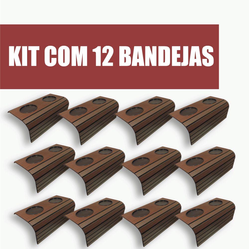 Kit com 12 Bandeja Porta Copo Para Braço De Sofá Cor Tabaco DM Interiores