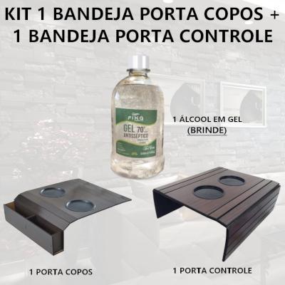 Kit Suporte Porta Copos E Controle + 1 Álcool em gel 500ML DM Interiores