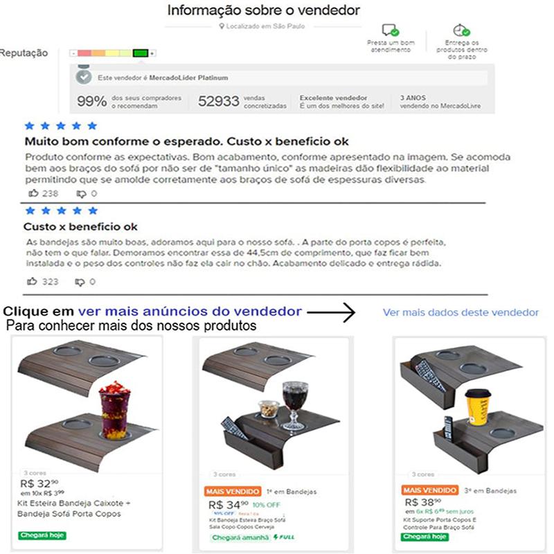 Kit Suporte Porta Copos E Controle Para Braço Sofá