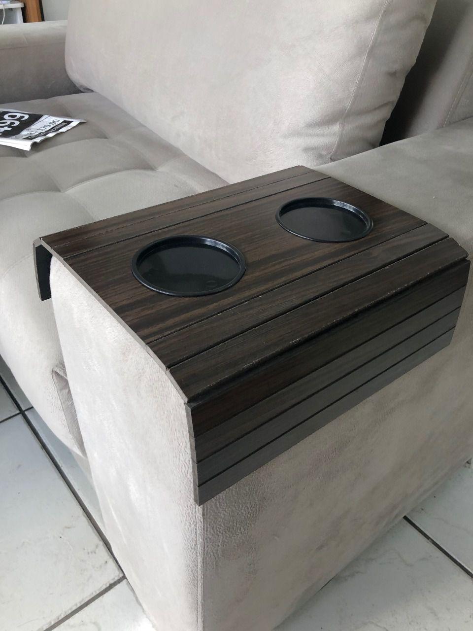 Kit Suporte Porta Copos E Controle Para Braço Sofá DM Interiores