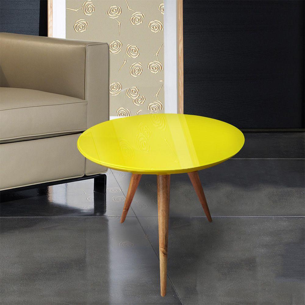 Mesa Lateral Laqueada Amarela Com Vidro Pé Palito DM Interiores