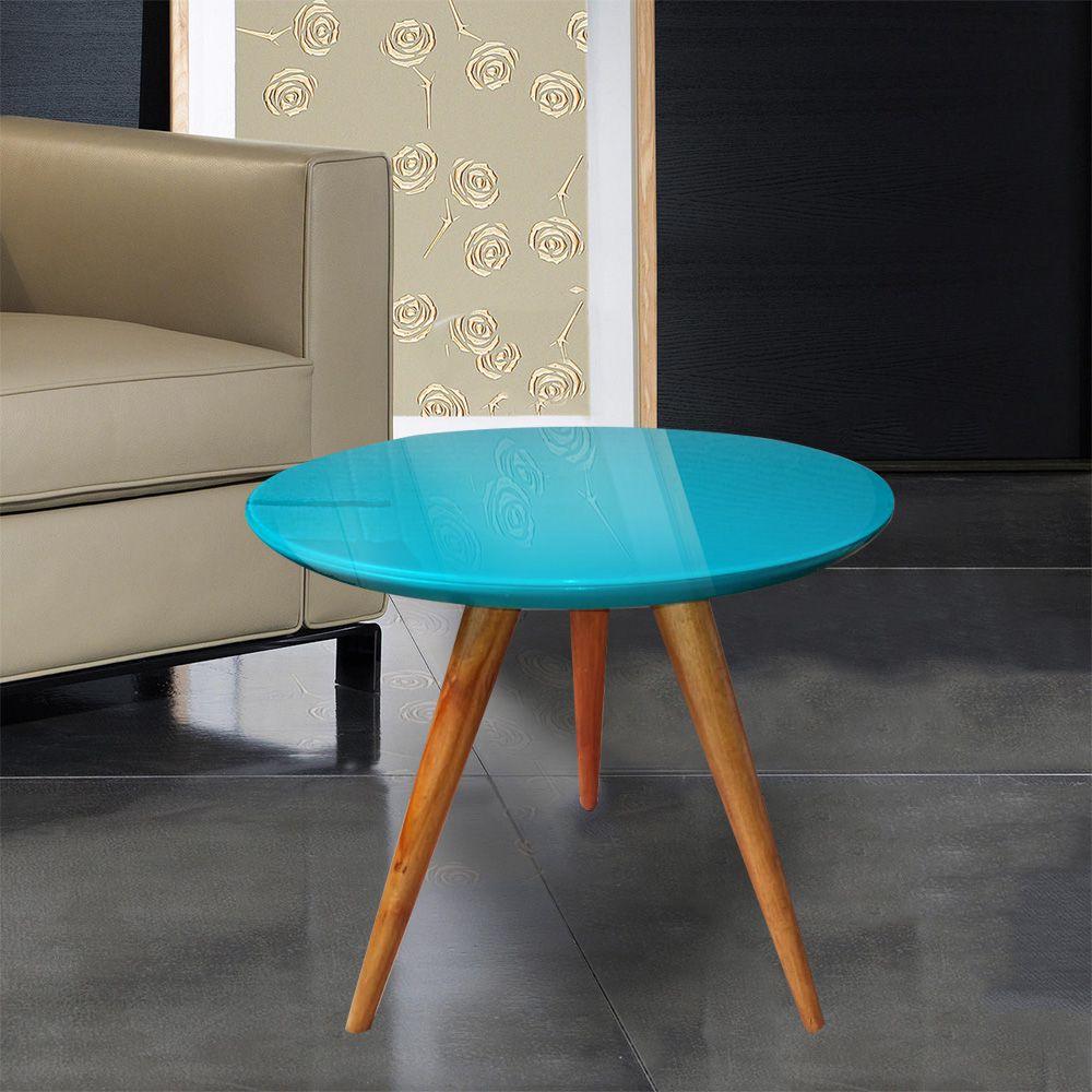 Mesa Lateral Laqueada Azul Com Vidro Pé Palito DM Interiores