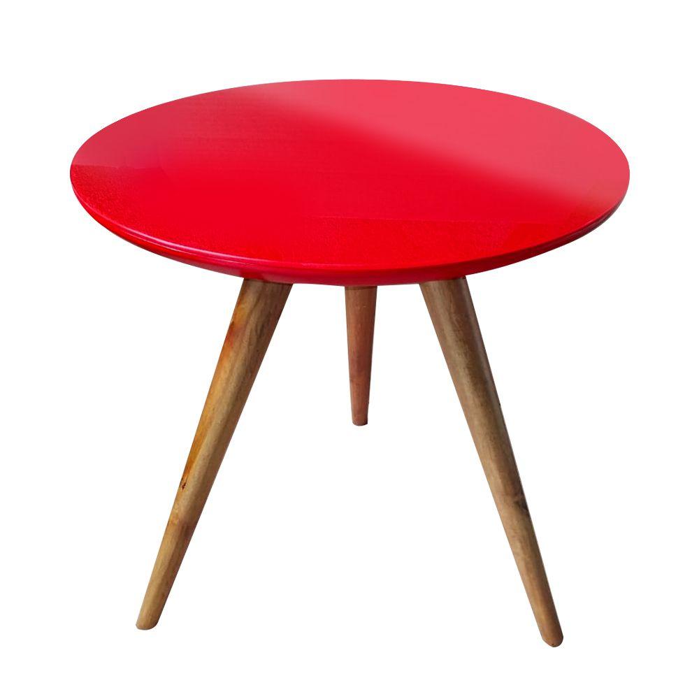 Mesa Lateral Laqueada Vermelho Com Vidro Pé Palito DM Interiores
