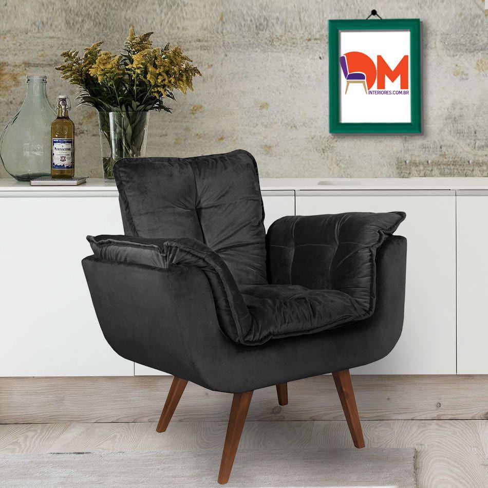 Poltrona Opalla Preto Luxo Pé Palito DM Interiores