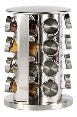 Porta Tempero Condimentos Inox 16 Potes Vidro E Tampa Inox Anúncio com variação