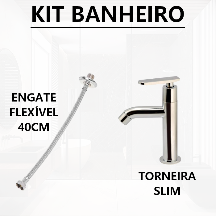 Torneira Slim ABS + Engate Flexível 40CM