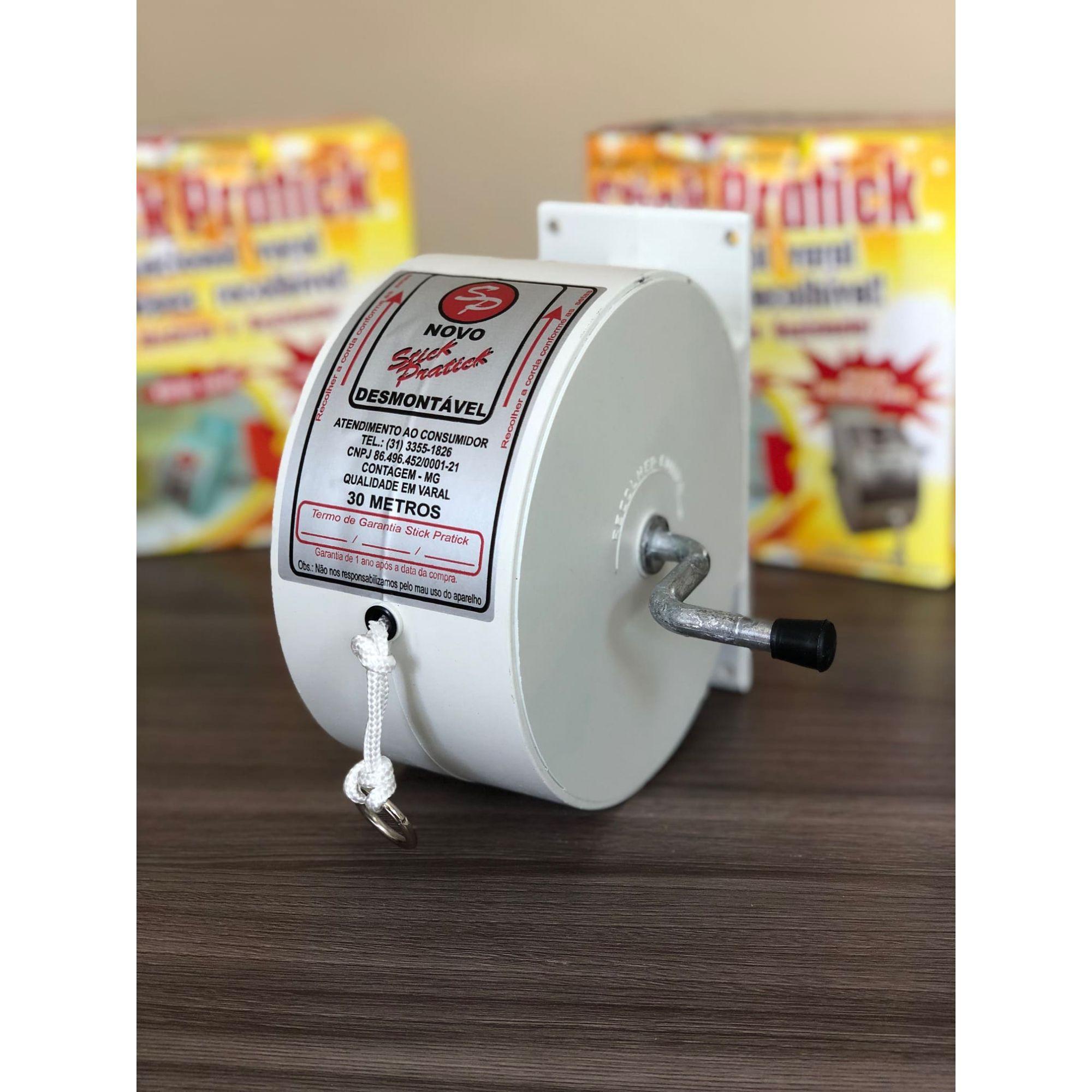 Varal De Parede Retrátil Stick Prátick Automático Recolhível Branco 30M DM Interiores