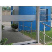 Faixa Decorativa e Segurança em Adesivo Jateado liso P/ Portas De Vidro 100 x 10 cm