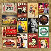 Placas Decorativas Vintage Retro - 19 x 29 cm