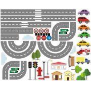 Adesivo Decorativo para Parede Cidade Pista Carros