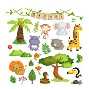 Adesivo Decorativo de Parede Selva Safari grande com 27 adesivos