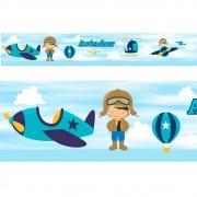 Adesivo faixa decorativa de parede infantil borda bebe azul - Aviador, Avião