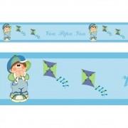 Adesivo faixa decorativa de parede infantil borda bebe azul - Pipas