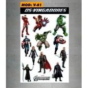 Cartela Adesivos Vingadores - Avengers