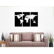 Kit com 3 adesivos decorativos de Parede - Mapa Mundi
