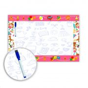 Lousa Quadro Branco em PVC Infantil 62x40 cm - Rosa - Ref 07