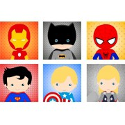 Kit Placa Decorativa Quadro Heroes Baby 20 x 20 cm com 6 personagens
