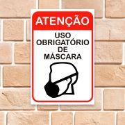 Placa para porta - Uso Obrigatório de Máscara Facial