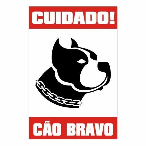 Placa Cão Bravo para fixação em Portão ou Muro - 20 x 30 cm