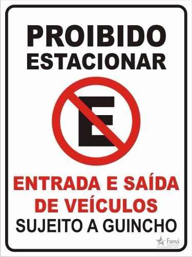 Placa Proibido Estacionar Grande 30x40 Cm