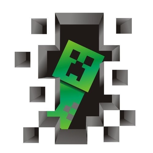 Adesivo Decorativo de Parede Buraco 3D Minecraft - 92 x 100 Cm
