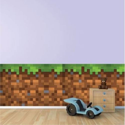 Adesivo Decorativo Textura Minecraft para Parede Porta Quarto