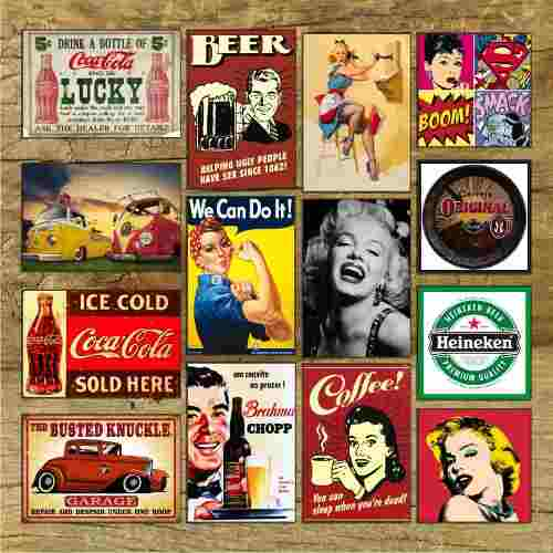 Placas Decorativas Vintage Retro - 19 x 29 cm