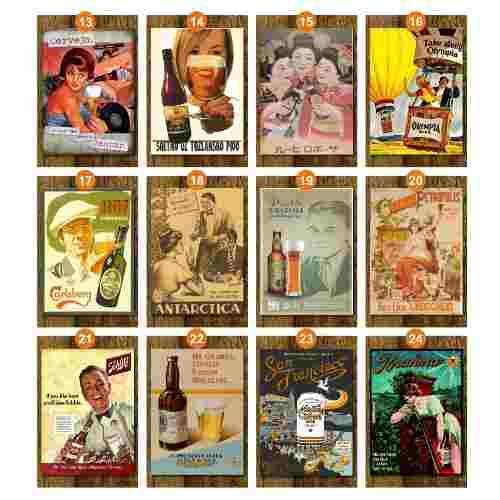 Kit C/ 5 Placas Retro Cartazes De Cerveja + 1 De Brinde