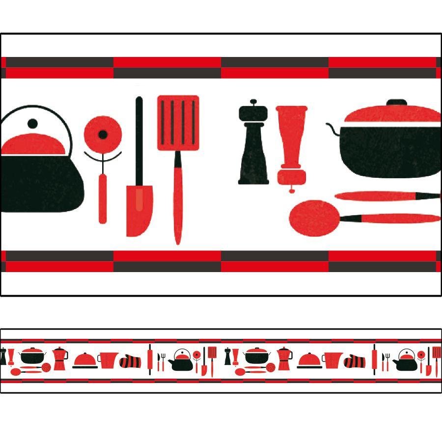 Adesivo Borda Decorativa faixa para Cozinha - Diversos Modelos 100 x 10 cm
