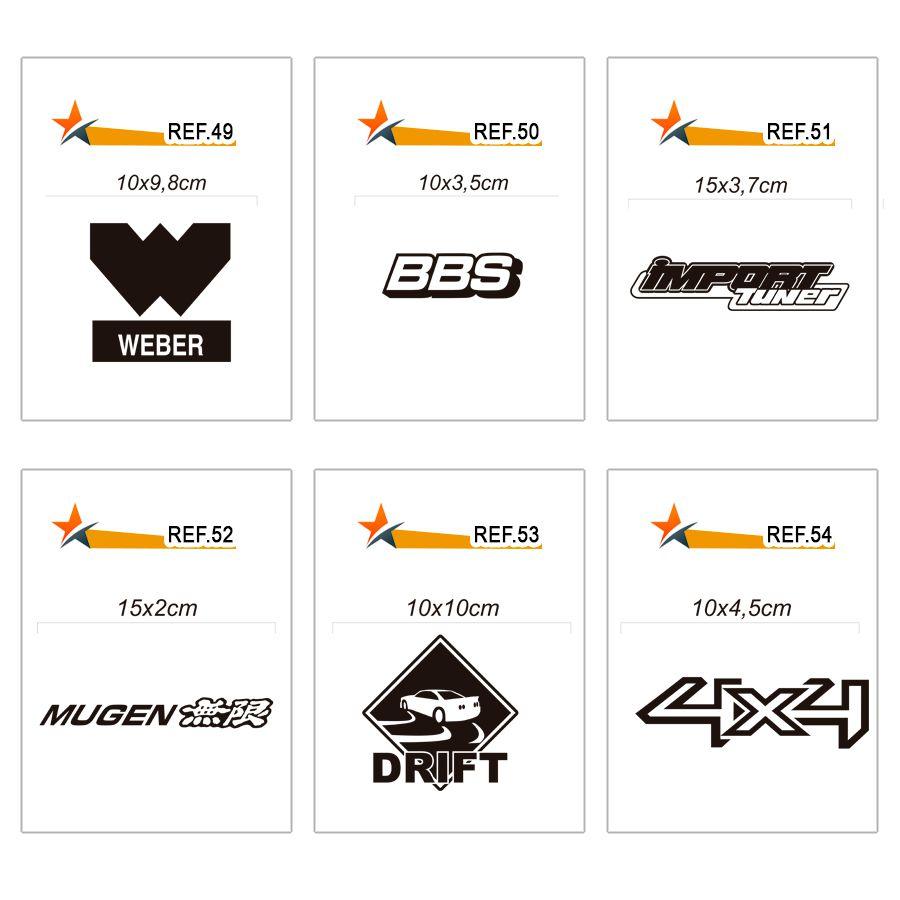 Adesivo Carro Rebaixado, Tuning - Vários Modelos - kit c/ 5 adesivos