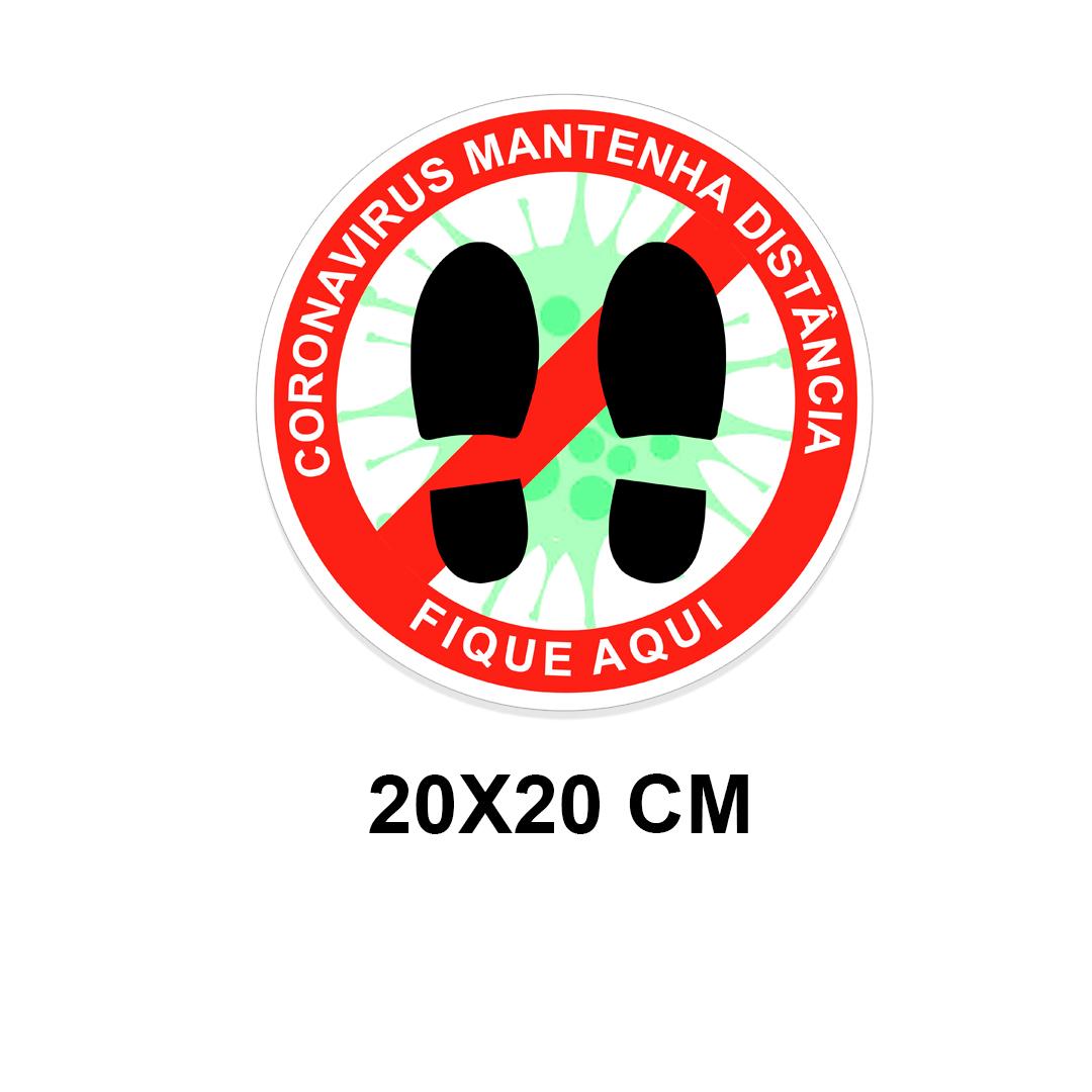 Adesivo de chão laminado Distanciamento Social prevenção Covid-19 / Coronavirus - Kit com 12 adesivos 20 x 20 cm