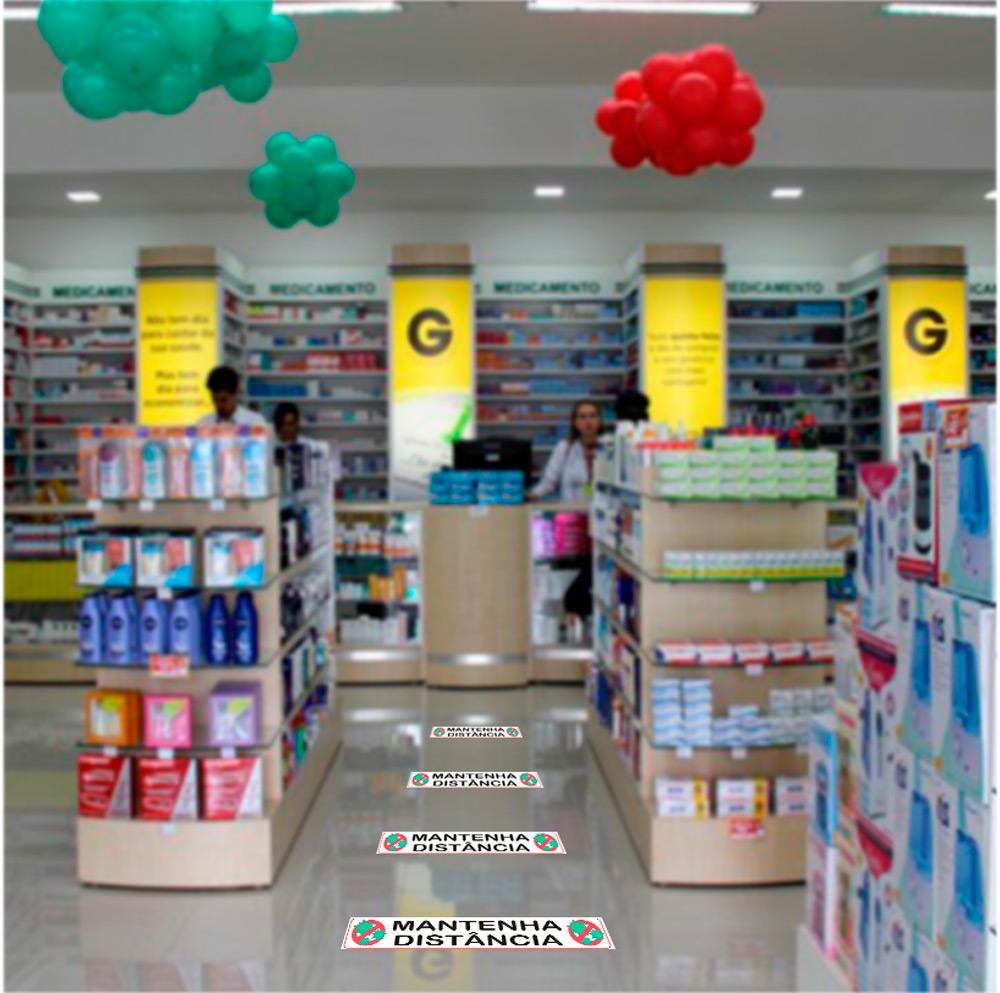 Adesivo de chão laminado Distanciamento Social prevenção Covid-19 / Coronavirus - Kit com 12 adesivos - 50x10cm