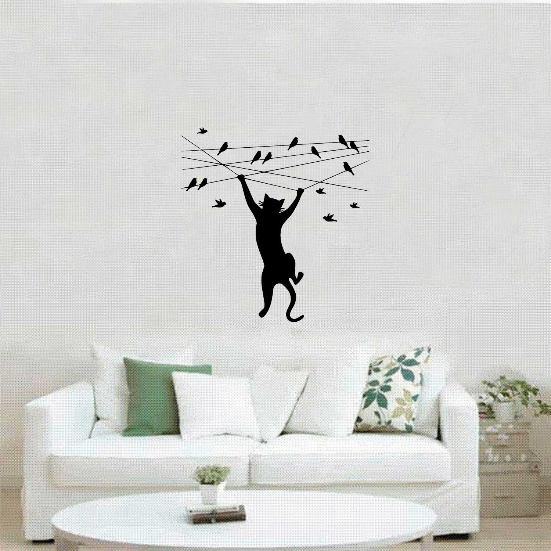 Adesivo Decorativo para parede - Gato no fio com Pássaros
