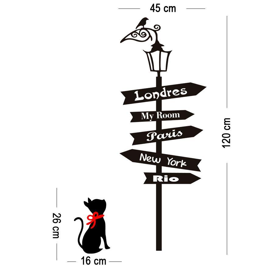 Adesivo Decorativo para Parede - Gato Poste Cidades