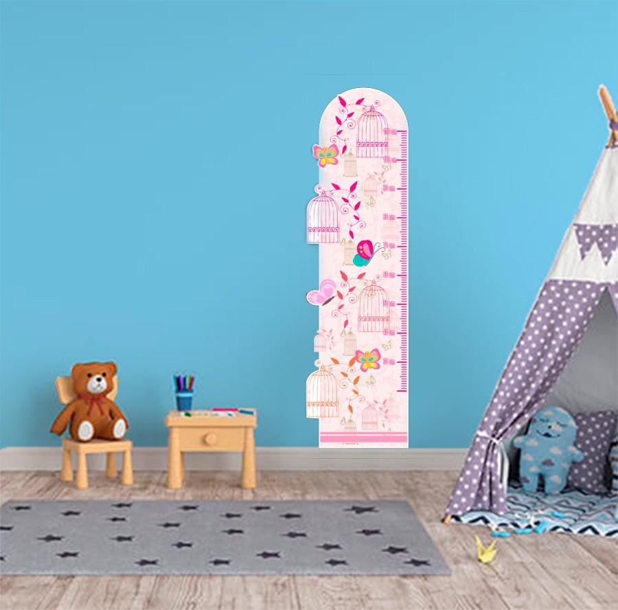 Adesivo Decorativo Infantil Régua Crescimento - Gaiola, Pássaros rosa
