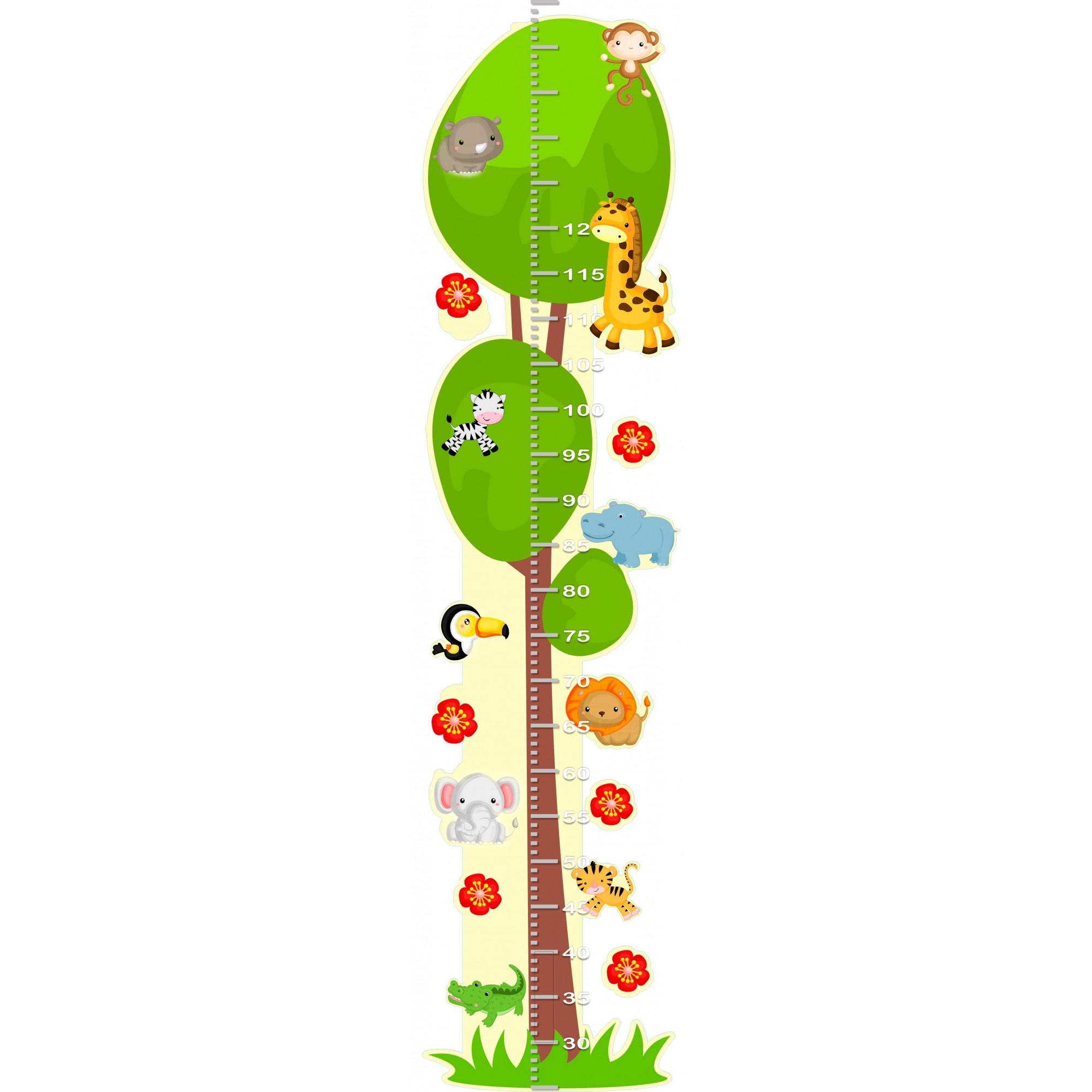 Adesivo Decorativo de Parede Infantil Régua de Crescimento - Safári
