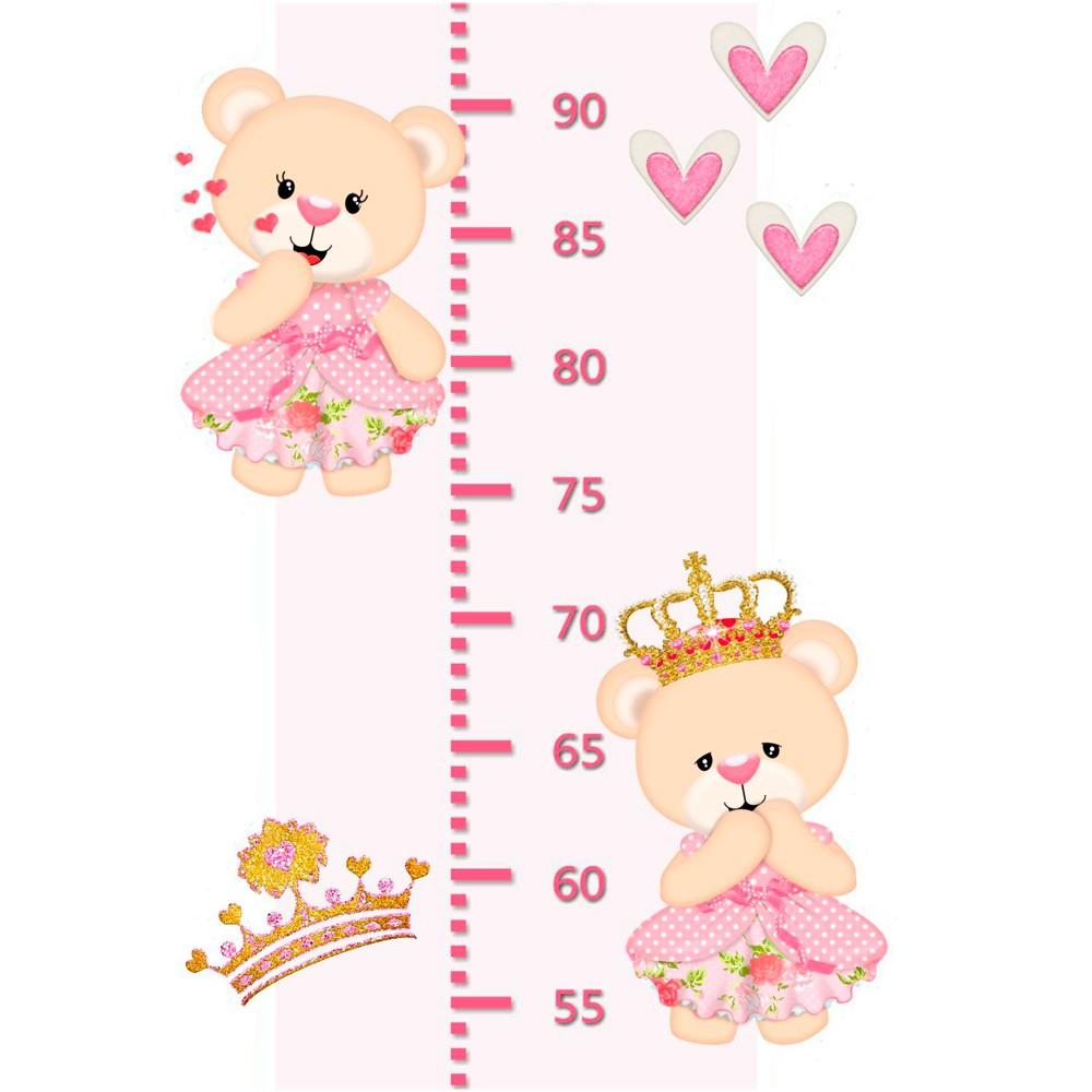 Adesivo Decorativo Infantil Régua Crescimento - Ursinha Rosa
