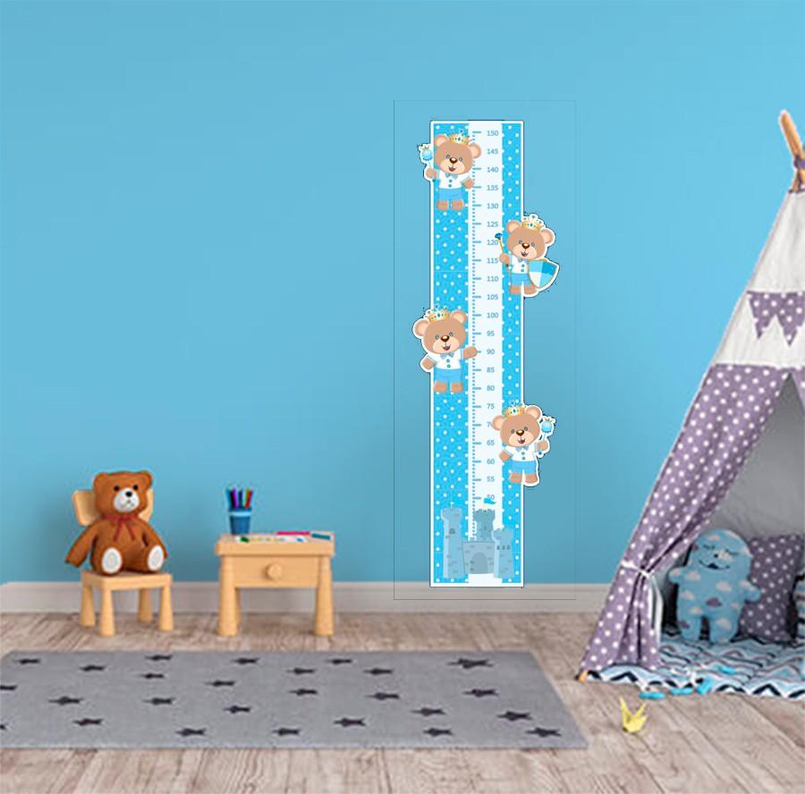 Adesivo Decorativo Infantil Régua Crescimento - Ursinho Azul