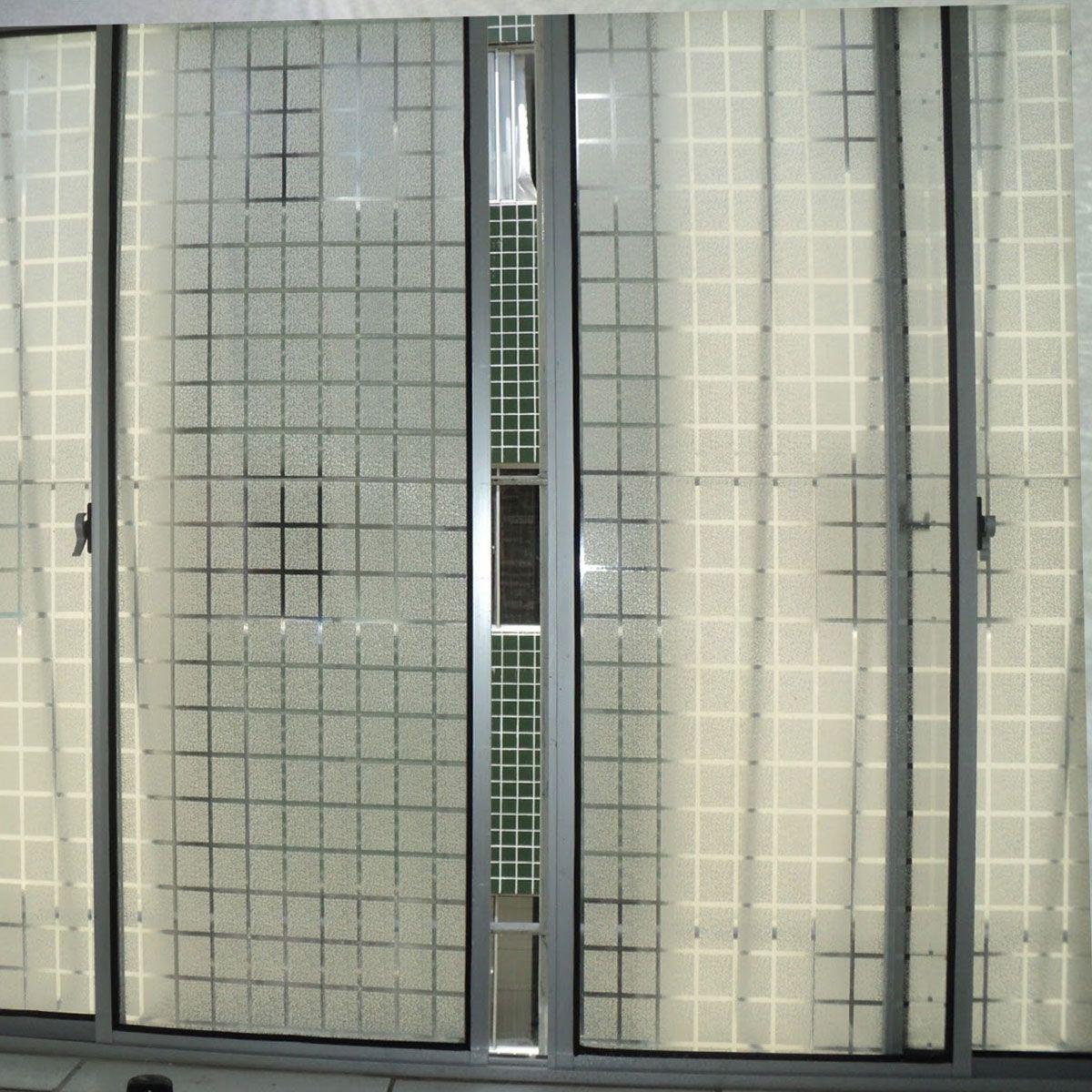 Adesivo Decorativo Jateado Quadriculado P/ Vidro, Box, Janela e Portas 1 x 1m