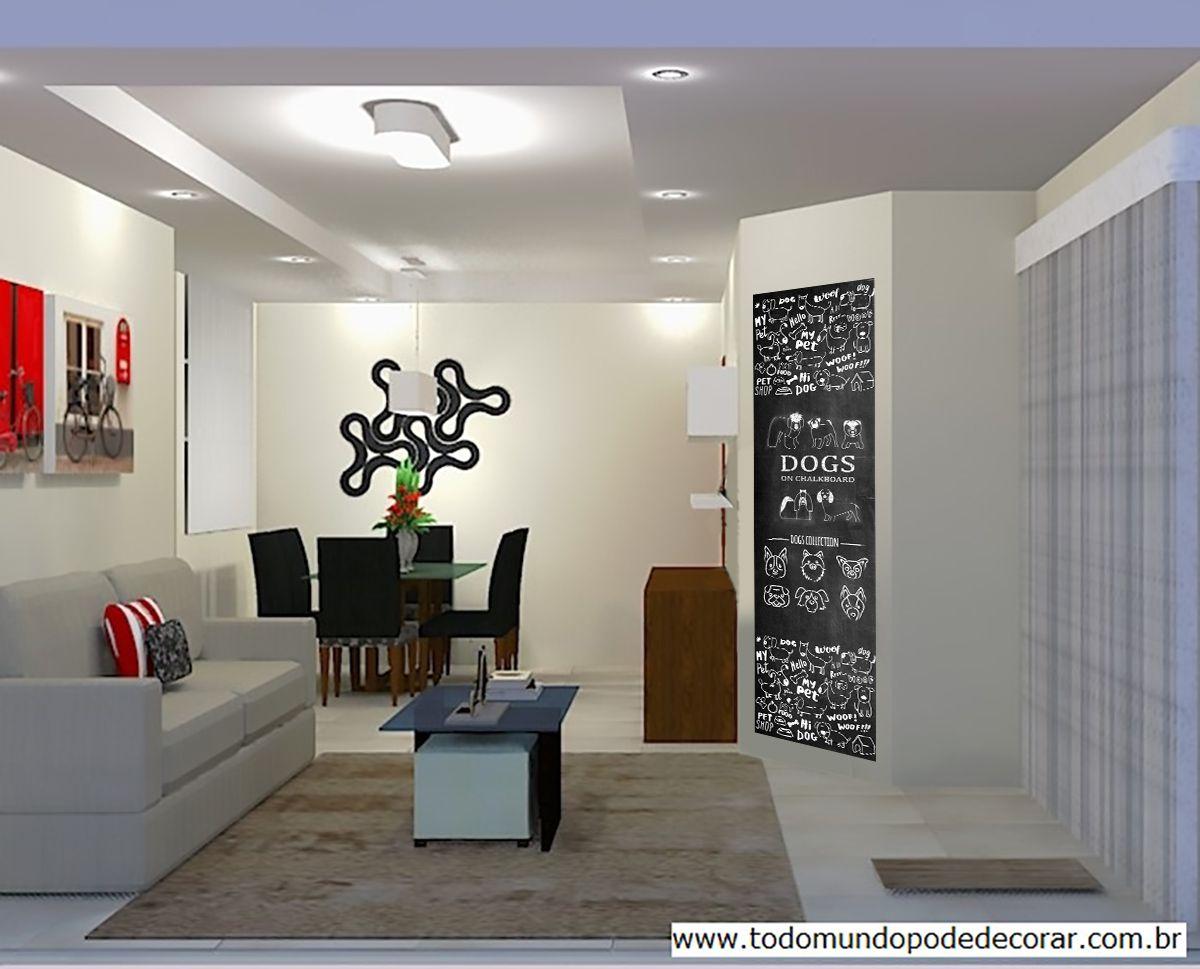 Adesivo Decorativo Parede Chalkboard lousa Animais - Cão -  1,80 x 0,50 m