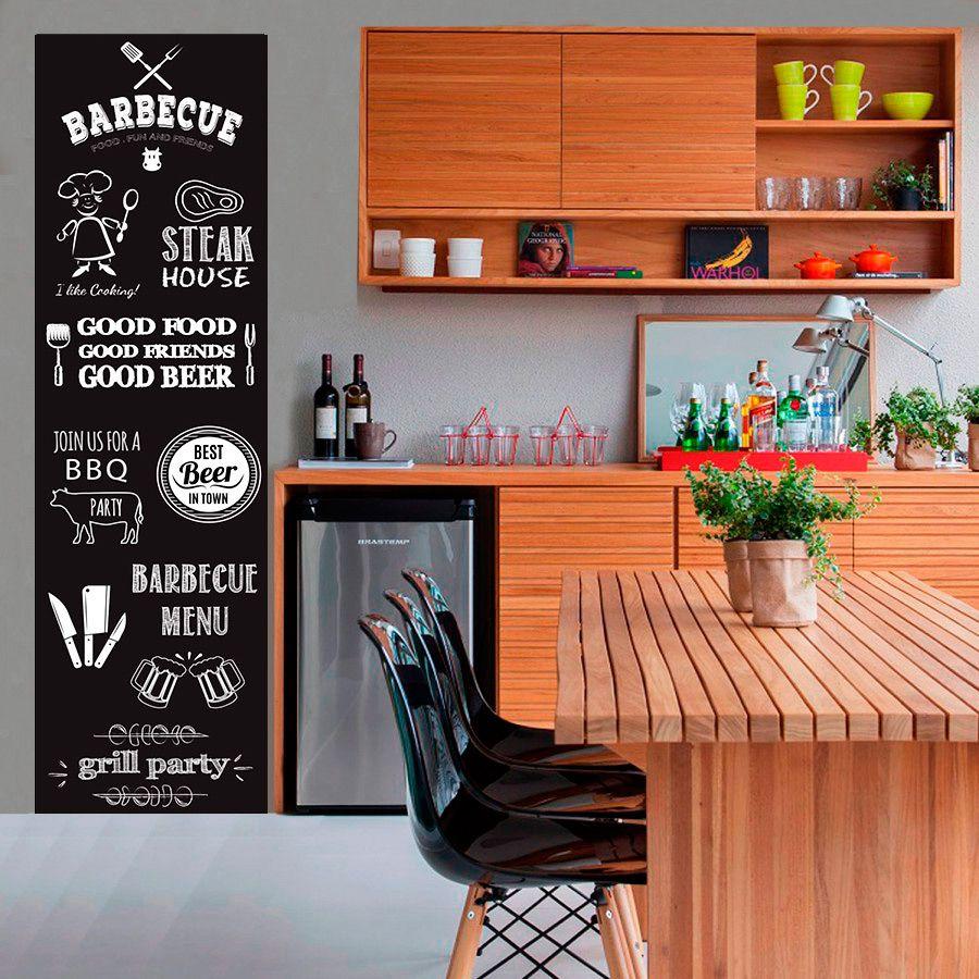 Adesivo Decorativo Parede Chalkboard lousa para cozinha/ área gourmet - Churrasco 1,80 x 0,50 m