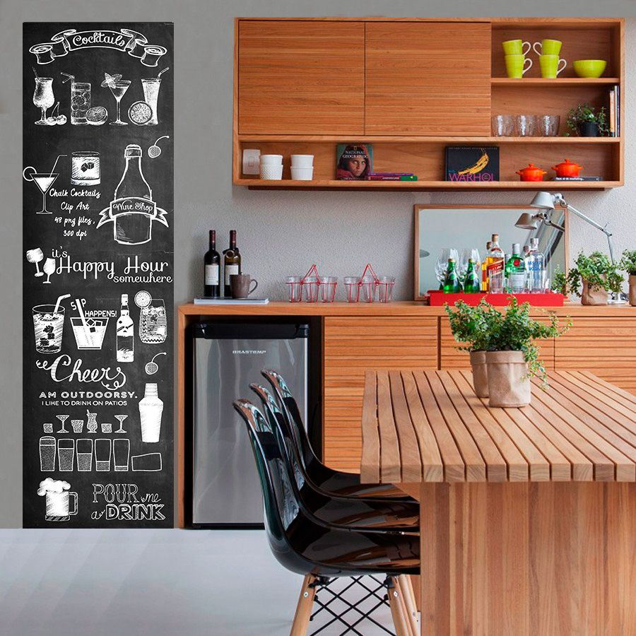 Adesivo Parede Cozinha / área gourmet Chalkboard lousa Drink e Bebidas 1,80 x 0,50 m