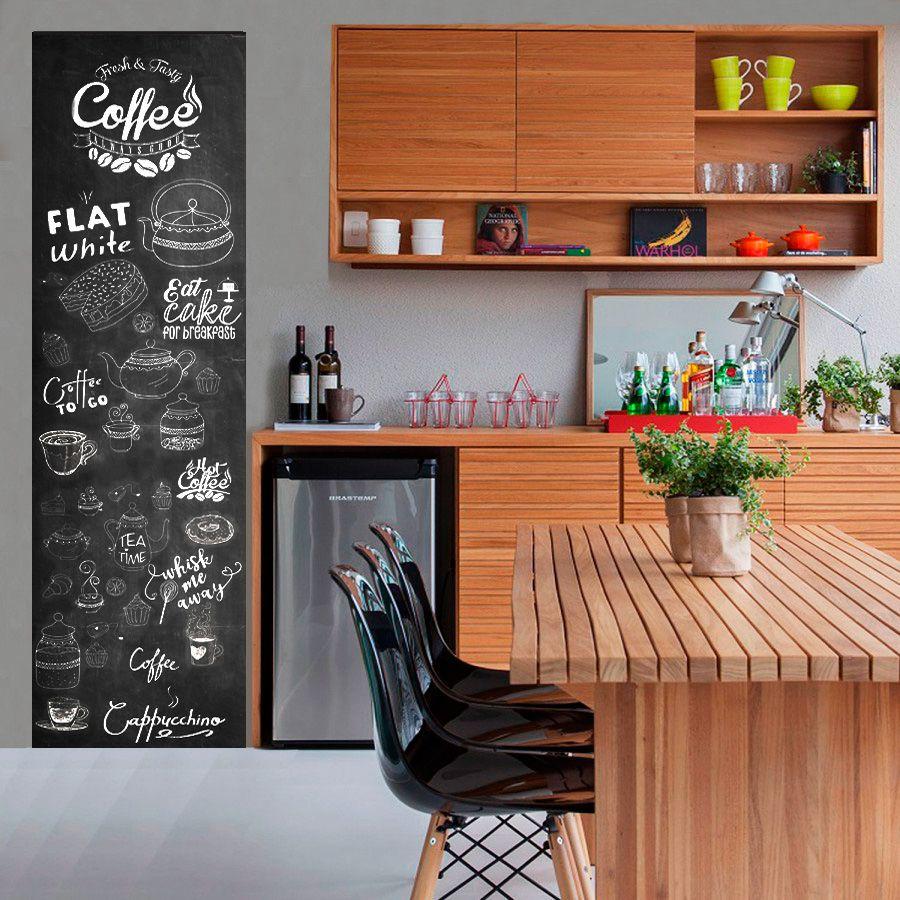 Adesivo Decorativo Parede Chalkboard lousa para cozinha/ área gourmet - Coffee 1,80 x 0,50 m