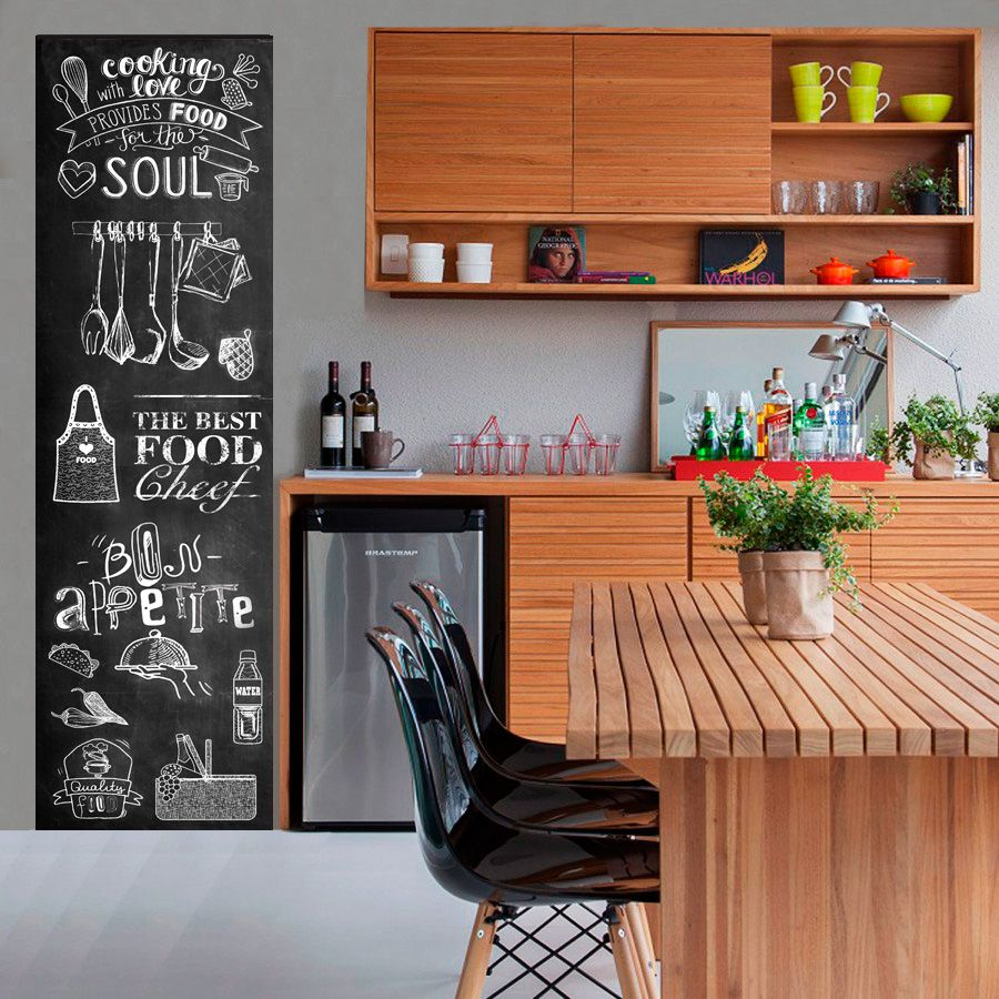 Adesivo Decorativo Parede Chalkboard lousa Food, Cozinha, área gourmet  1,80 x 0,50 m