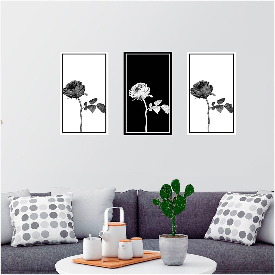 Adesivo Decorativo para Parede - Flores - Rosa Monocromática Ref. 02