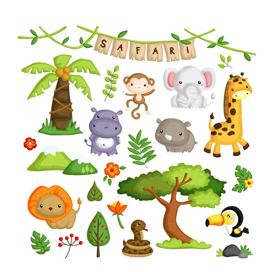 Adesivo Decorativo Selva Safari grande com 27 adesivos
