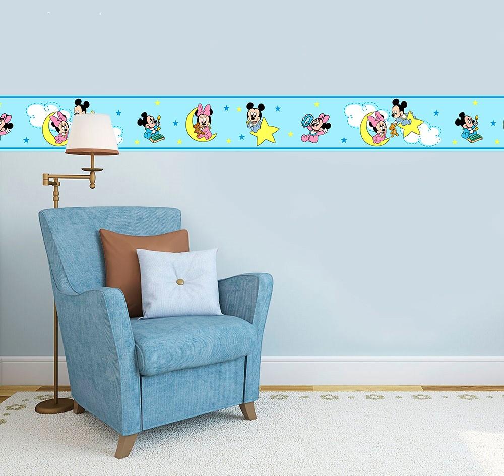 Adesivo faixa decorativa de parede infantil borda bebe azul - Mickey, Minie, Baby Disney
