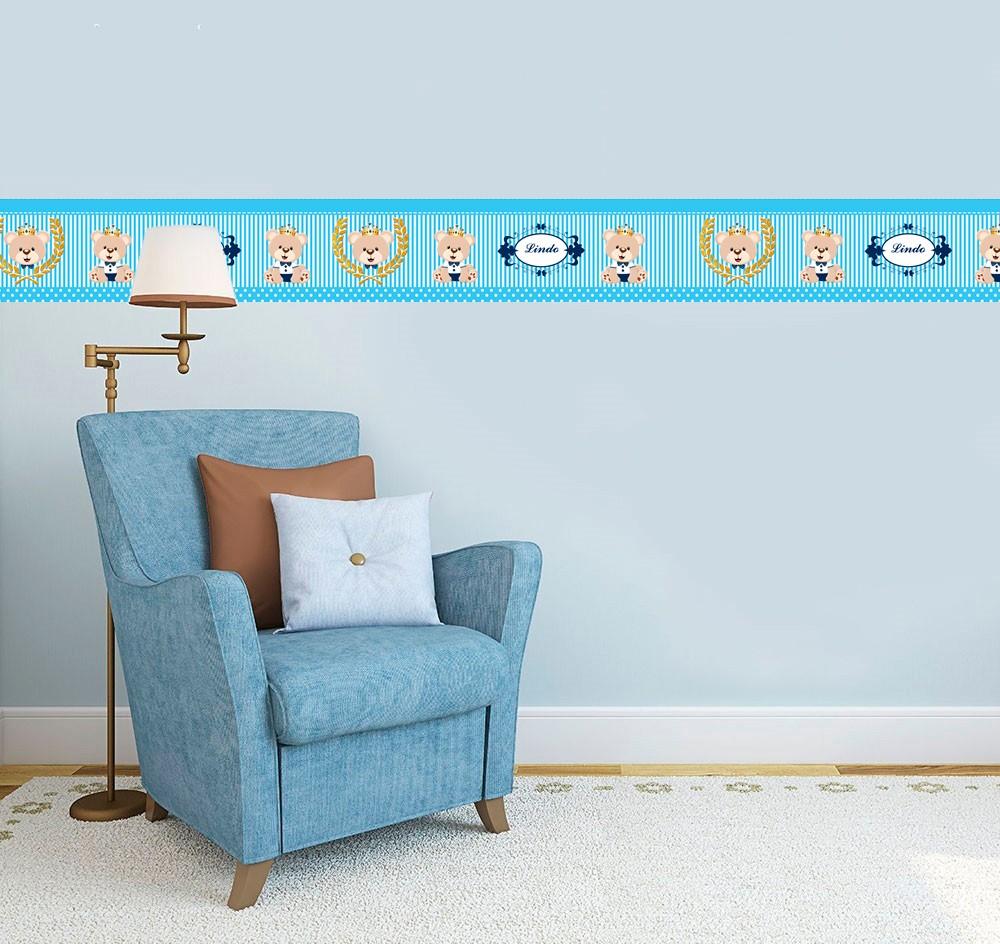 Adesivo faixa decorativa de parede infantil borda bebe azul - Urso